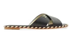 Chanel black leather cross-strap flat sandals
