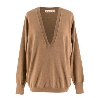 Marni Brown V-neck Wool Jumper