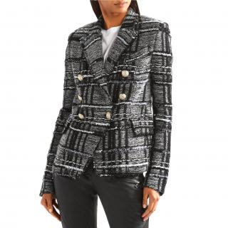 Balmain Double-Breasted Black Tweed Blazer