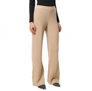 Nanushka Beige Wide-leg Knit Trousers