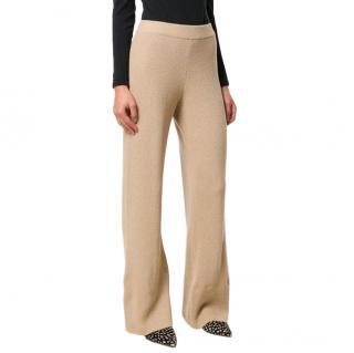 Nanushka Beige Wide-leg Knit Trousers