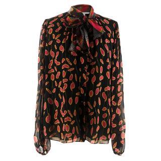Diane von Furstenberg Sheer Silk Necktie Blouse Shirt
