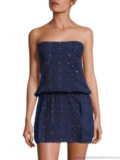 Melissa Odabash Navy Embroidered Strapless Beach Dress