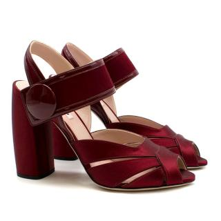 Miu Miu Burgundy Red High-Block Giordana Sandal Heels