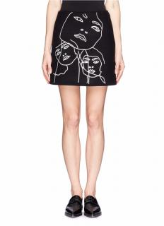 Stella McCartney Jeanne Face Embroidery Wool Melton Skirt
