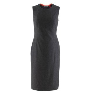 91ad601c43 Jil Sander Contrast Panel Grey Cashmere Dress