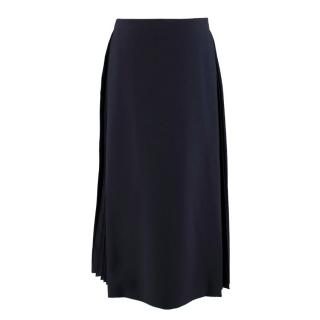 Fendi Pleated-Insert Navy Midi Skirt