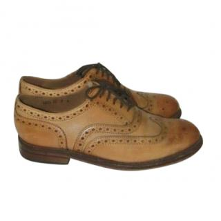 Grenson tan-brown leather lace-up brogues