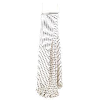 Chloe Striped Asymmetric-Hem Maxi Dress