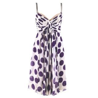 Dolce & Gabbana Polka-Dot Print Silk-Chiffon Dress