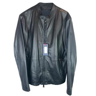 Armani Jeans Leather Cafe Racer Biker Jacket