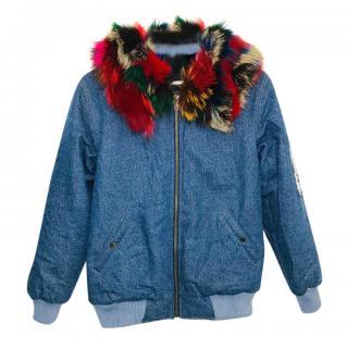 Bespoke fur-lined denim bomber jacket