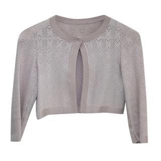 Alaia Cropped Lasercut Knit Cardigan