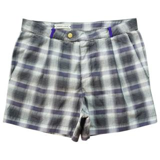 New ROBINSON LES BAINS Lucio Tartan Grey Check Swim Trunks Shorts