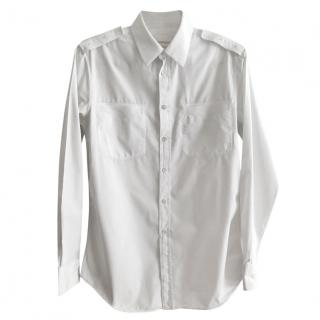 Alexander McQueen White Military-Style Shirt with Grosgrain Bands