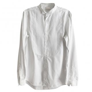 Alexander McQueen Pleated Bib Wing Collar White Cotton Shirt