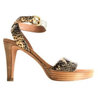 Fratelli Rossetti python-effect leather platform sandals