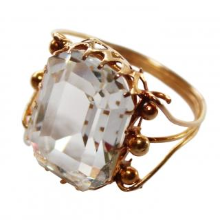 Bespoke 18ct Gold Large Crystal Solitaire Ring