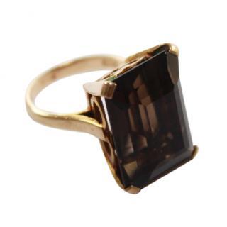 Bespoke 9ct Gold Smoky Quartz Cocktail Dress Ring