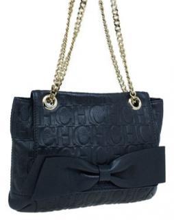 Carolina Herrera Audrey dark blue Leather bag