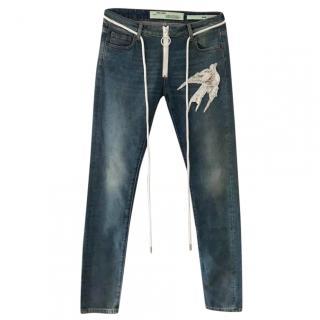 Off White c/o Virgil Abloh Diag Embellished Skinny Jeans