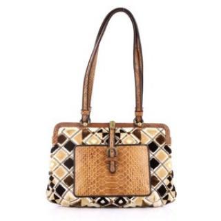 Bottega Veneta Python & Velvet Shoulder Bag