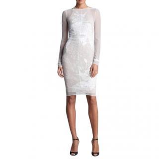 Emilio Pucci runway white sheer silk & lace embellished dress
