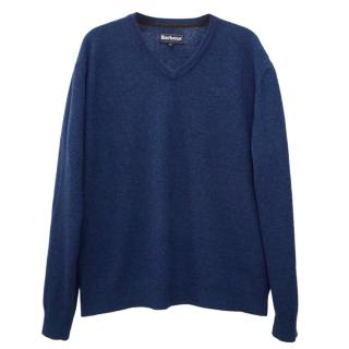 Barbour Essential Thin Lambswool V-Neck Blue Jumper Sweater Pullover