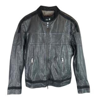 Boss Hugo Boss Leather Cafe Racer Biker Jacket