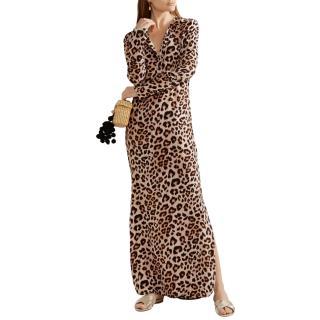 Equipment leopard print washed silk maxi dress