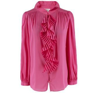 Milly Pink Ruffled Silk-blend Blouse Shirt