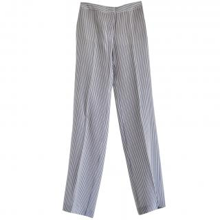 Stella McCartney blue & white striped-silk trousers