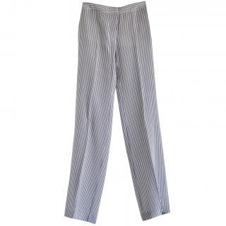Stella McCartney blue & white striped-silk trousers