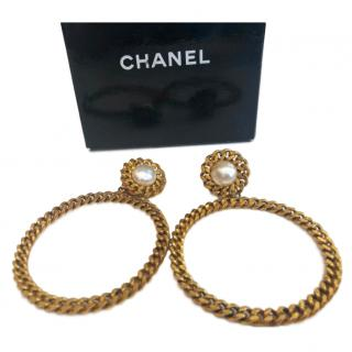 Chanel Vintage faux-pearl hoop earrings
