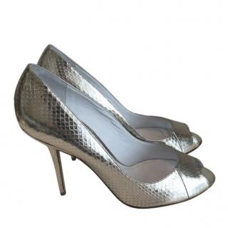 Burberry Snake Embossed Metallic Silver Pumps