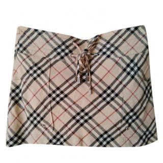 Burberry Nova Check Linen Mini Skirt