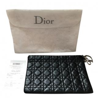 Dior Cannage Quilted Coated Canvas Clutch in Black