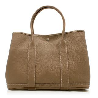 Hermes Fjord Leather Garden Party 36 Bag in Etoupe