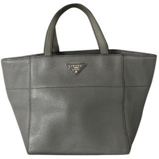 Prada Grey Soft Leather Shopping Tote