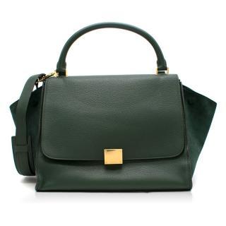 Celine Dark Green Calfskin Trapeze Bag