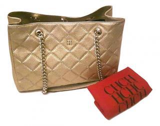 Carolina herrera Quilted Leather Gold bag