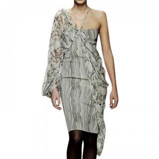 Emanuel Ungaro runway grey pebble print one shoulder silk dress