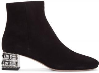 Miu Miu crystal-heel suede ankle boots