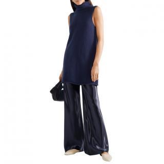 The Row Leond Navy Cashmere/Silk Sleeveless Long Tunic