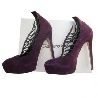 Brian Atwood purple suede platform pumps