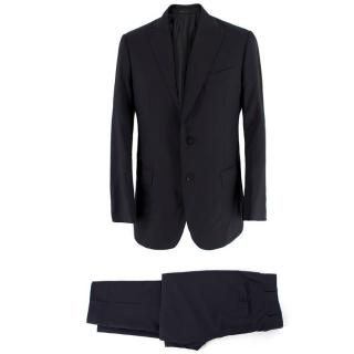 Armani Collezioni Black Wool and Silk-blend Suit