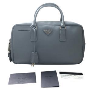 Prada Saffiano Leather Bauletto Pale-Blue Bowling Bag