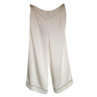 Louis Vuitton wide-leg ivory trousers