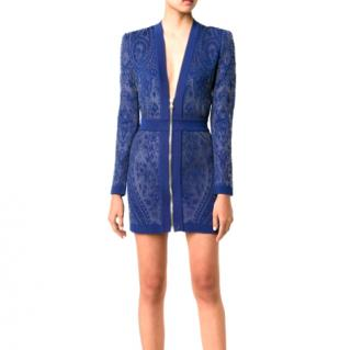 Balmain zip-though blue mini dress
