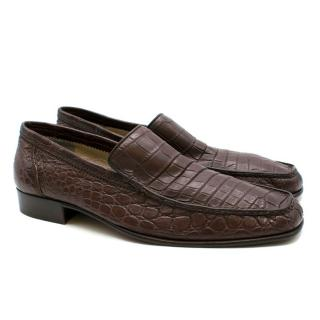 Stefano Ricci Brown Crocodile Leather Loafers